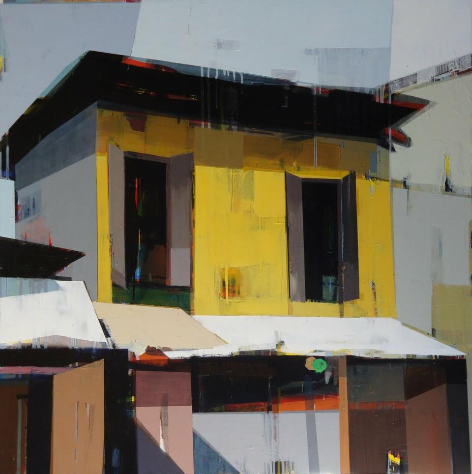 """A Yellow House on the Main Street, 48"""" x 48"""", Oil on canvas"""