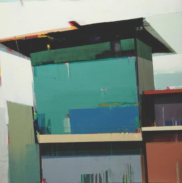 """A blue house, 30"""" x 30"""", oil on canvas"""