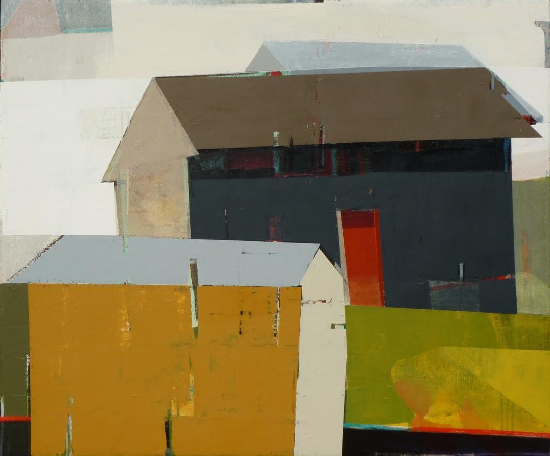 "An Ochre house next to a Gray house,  40"" x 48"", oil on canvas"