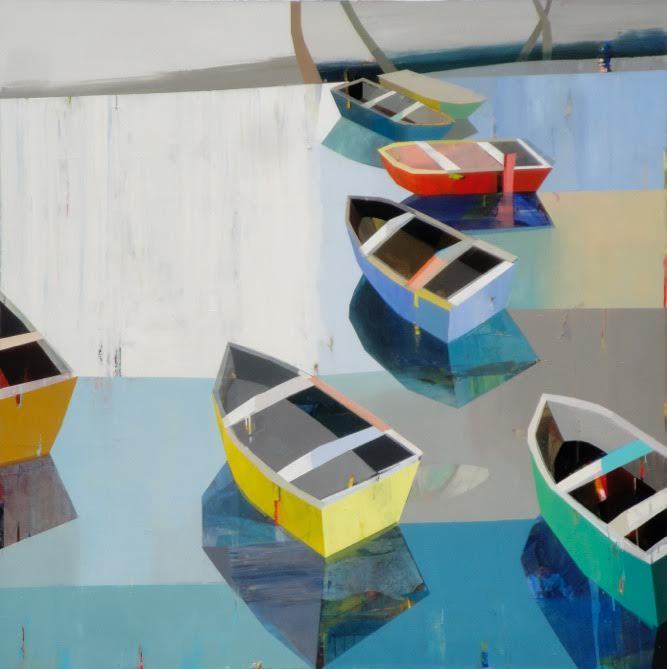 "Boats in the shallow water # 15,  72"" x 72"", oil on canvas"
