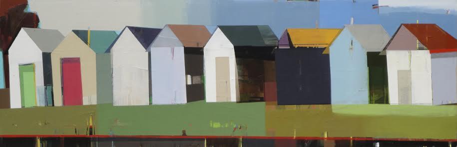 "By the beach, 21"" x 74"" Oil on canvas"