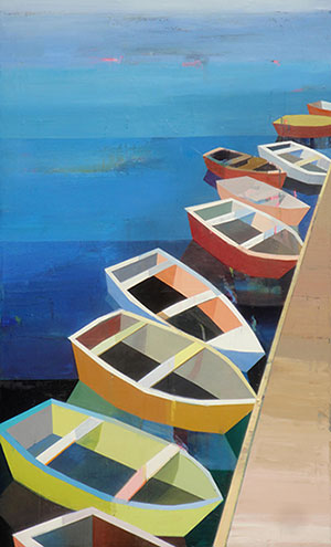 Colorful Boats in the bay # 10, 70 x 43,, Oil on canvas
