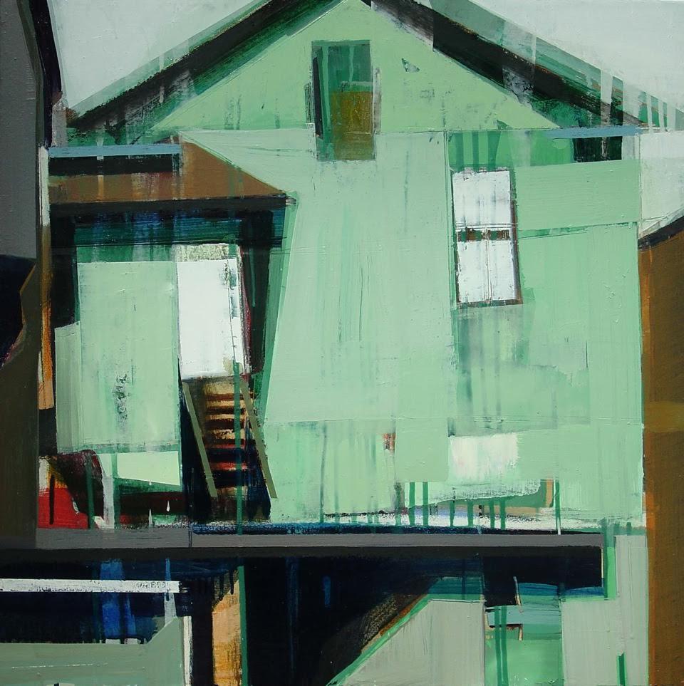 "House near the railway crossing, 30"" x 30"", Oil on canvas"